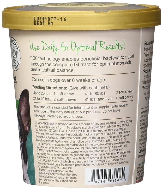 Garmon Corp NaturVet Advanced Probiotics & Enzymes Plus Vet Strength PB6 Probiotic for Dogs, Soft Chews, Made in USA: Amazon.es: Productos para mascotas