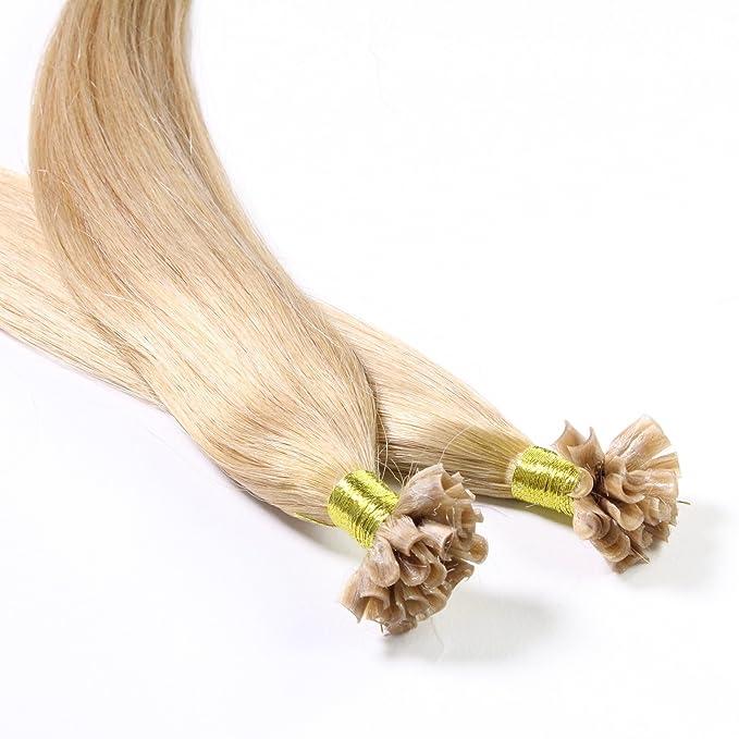 Hair2Heart 25 x 0.5g Extensiones de queratina - 40cm, colore #18 Castaños Rubio, liso: Amazon.es: Belleza