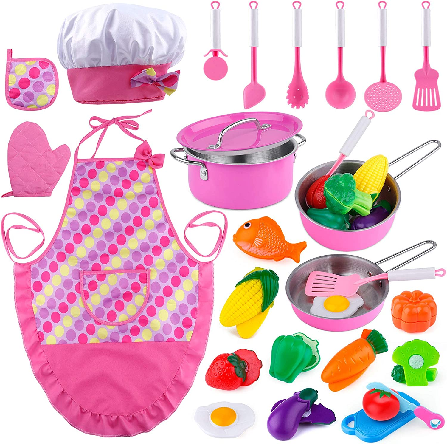 INNOCHEER Kids Cooking Set with Apron and Hat, 26pcs Kitchen Pretend Play Toys with Stainless Steel Cookware Pots and Pans Set, Cooking Utensils, Cutting Vegetables for Toddler Boys and Girls Ages 3+