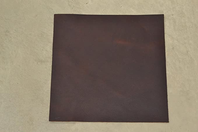 "Pre-cut Rustic Eggplant Brown Leather Oil Tan Cow Hide 12/""x12/""5-6oz pebble grain"