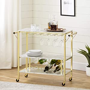 South Shore Maliza Bar Cart Bottle Storage and Wine Glass Rack-Faux Marble and Gold