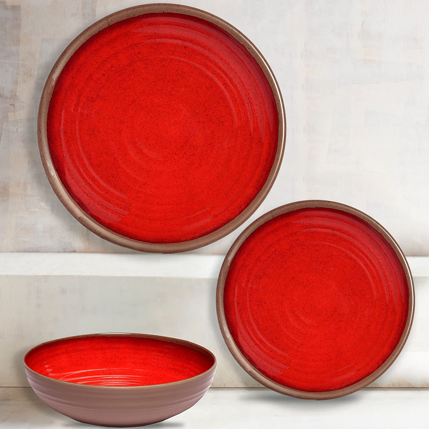 Melange 612409791221 12-Piece 100% (Clay Collection) | Shatter-Proof and Chip-Resistant Melamine Plates and Bowls | Color: Red | Dinner Plate, Salad Plate & Soup Bowl (4 Each) Ruby Compass Melamine