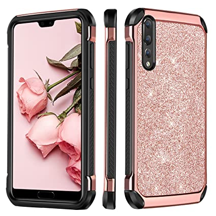 quality design 0fd75 ee438 BENTOBEN Huawei P20 Pro Case, Glitter Sparkle Bling Phone Case for Huawei  P20 Pro, Slim 2 in 1 with Shiny Faux Leather Hard Case Soft Bumper ...