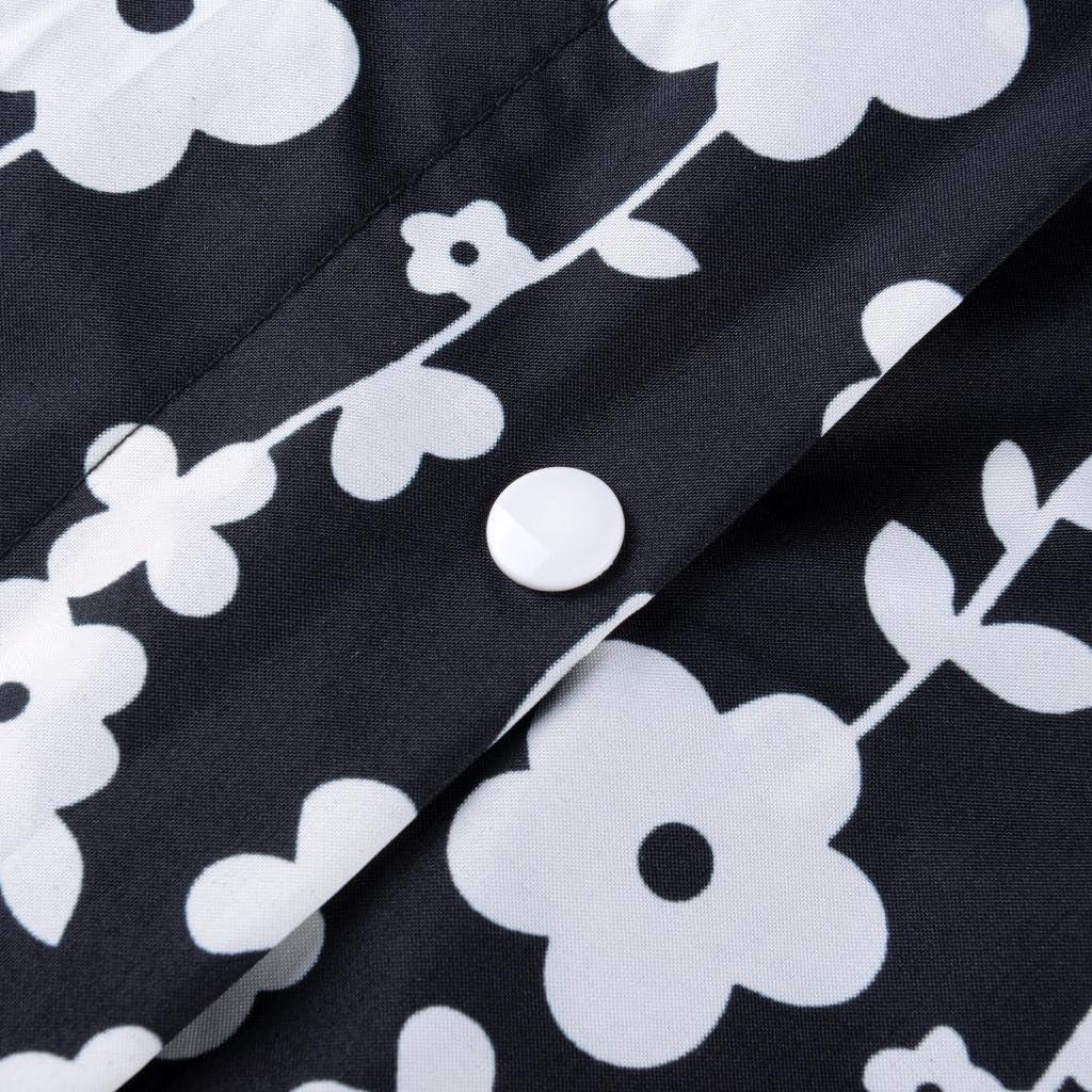 Popoye Womens Floral Printed Lightweight Long Raincoat Waterproof Packable Ponchos Zipper Jackets with Hood