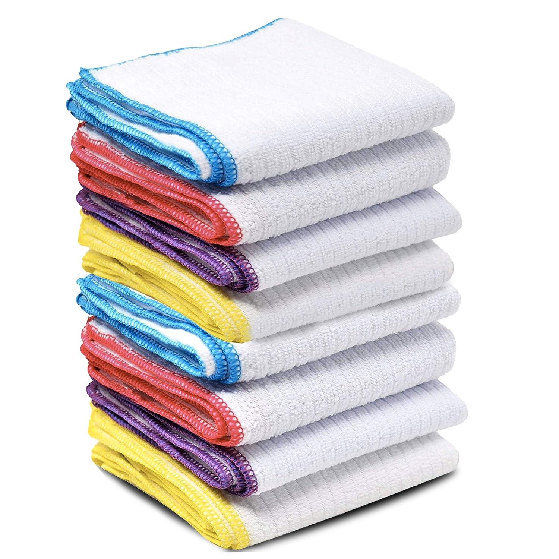 Pack de 10 paños de microfibra ultra absorbentes multiusos para limpieza de cocina, sin pelusas, 30 x 30 cm pack de 10 blanco: Amazon.es: Hogar