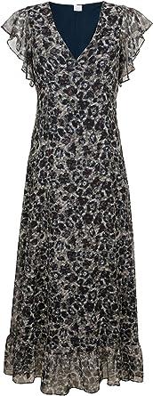AM markowa długa sukienka plażowa z falbanami granatowo-szaro-brązowa rozm. 42 0520288676 - etui 42: Odzież