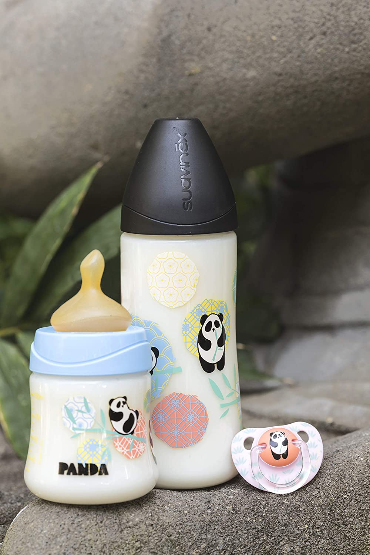 Suavinex - Biberón Bebé Con Tetina Anatómica Látex, 150ml. Talla 1 Flujo Lento. Biberón 0-6 Meses. 0% BPA. Diseño Panda Color Azul