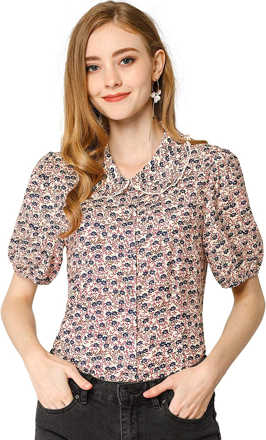 Allegra K Camisa de manga abullonada con cuello Peter Pan para mujer, con estampado floral, botones