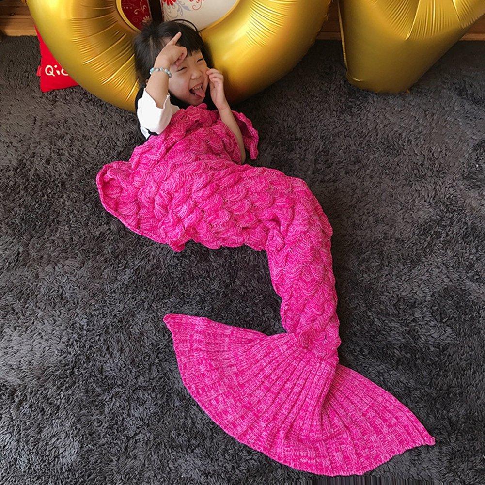 Kids crochet sirena cola manta, okayshop para tejer saco de dormir de artesanía para las niñas, todas las estaciones cálido sofá manta de salón, 135 ...
