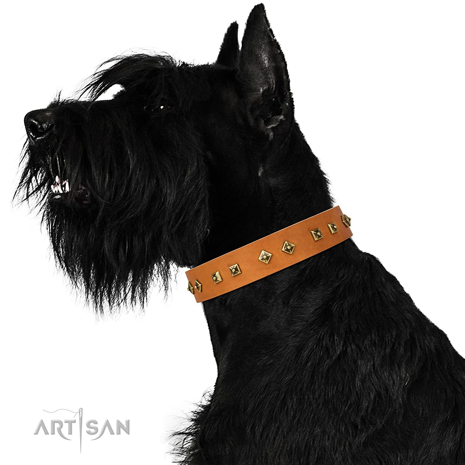 Fits for 19 inch (48cm) dog's neck size FDT Artisan 19 inch Studded Tan Leather Dog Collar Dimonds & Squares 1 1 2 inch (40 mm) Wide Gift Box Included