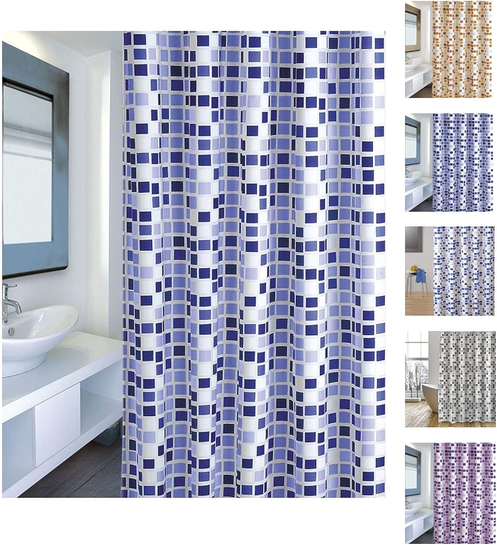 MSV Cortina de Baño, Diseño Mosaico, Poliéster, Azul, 22x50x6 cm