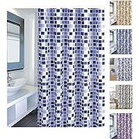 MSV Cortina de Baño, Diseño Mosaico, Poliéster, Azul