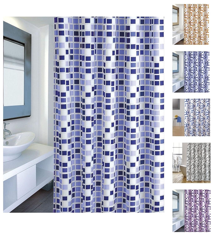 MSV 'cotexsa by 142102Premium Anti Muffa tenda per doccia–antibatterica con 12Anelli–Poliestere, Mosaico Arancione 180x 200cm–Made in Spain