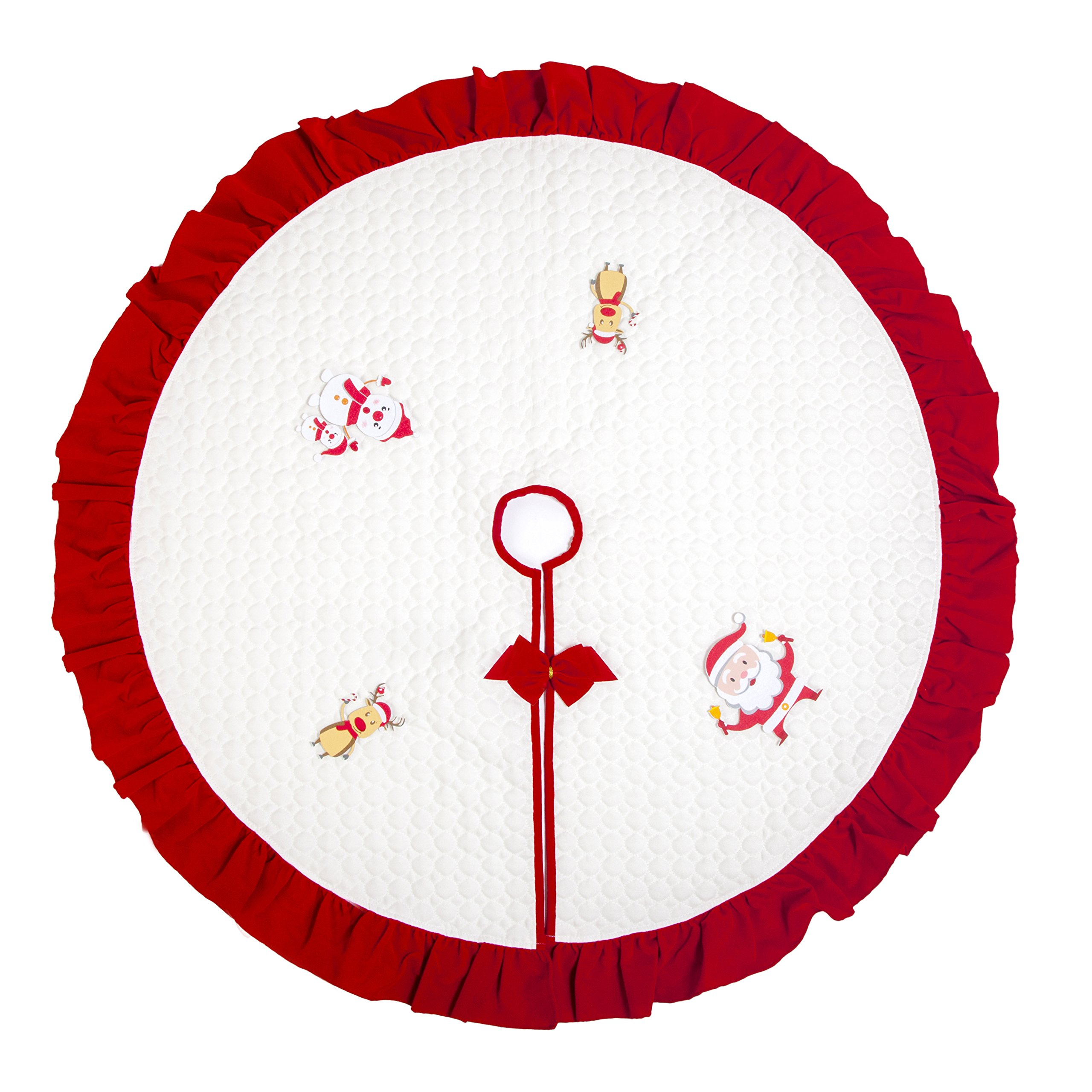 Hffls Christmas Tree Skirt 36 Inch White Double Layers Cotton Padded Tree Skirt With Christmas Red Bow Ruffle Edge Christmas Decorations Indoor Outdoor