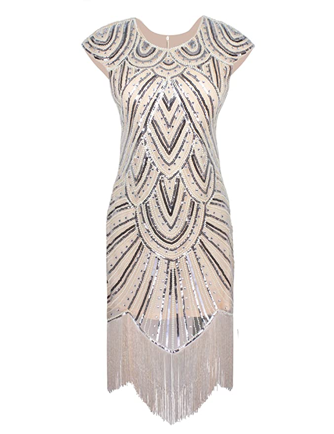 Roaring 20s Costumes- Flapper Costumes, Gangster Costumes  1920s Gatsby Diamond Sequined Embellished Fringed Flapper Dress  AT vintagedancer.com