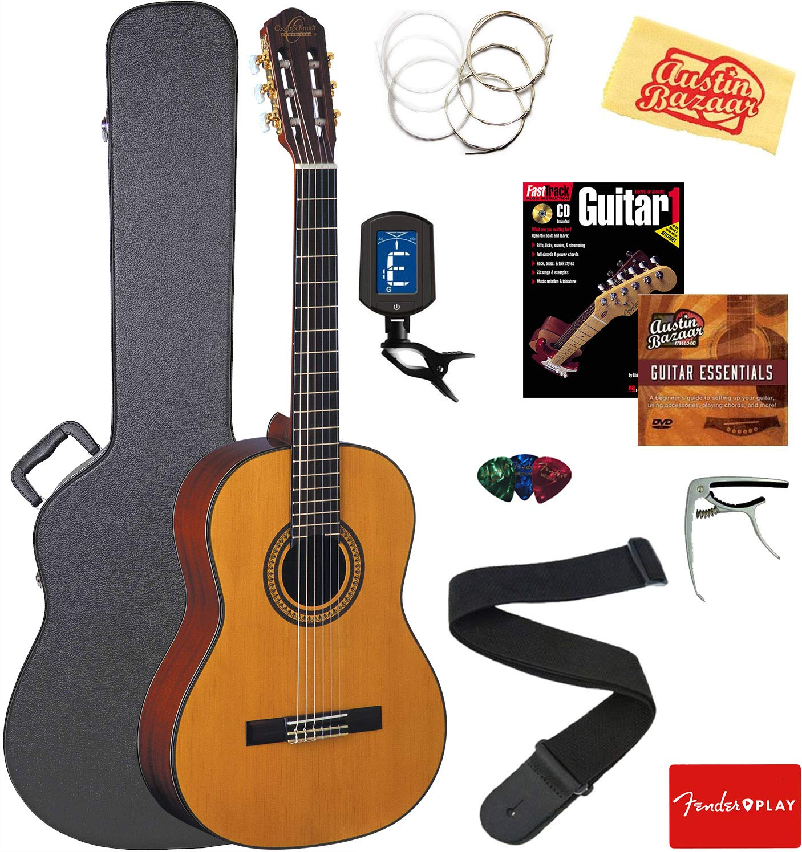 Oscar Schmidt OC11-A-U Classical Guitar - Natural Mahogany Bundle with Case, Strings, Tuner, Strap, Picks, Instructional Book, DVD, Capo, and Austin Bazaar Polishing Cloth by Oscar Schmidt