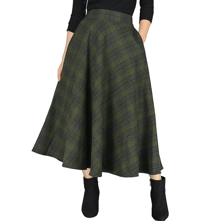 1960s Style Skirts YSJ Womens Wool Midi Skirt A-Line Pleated Vintage Plaid Winter Swing Skirts $31.99 AT vintagedancer.com