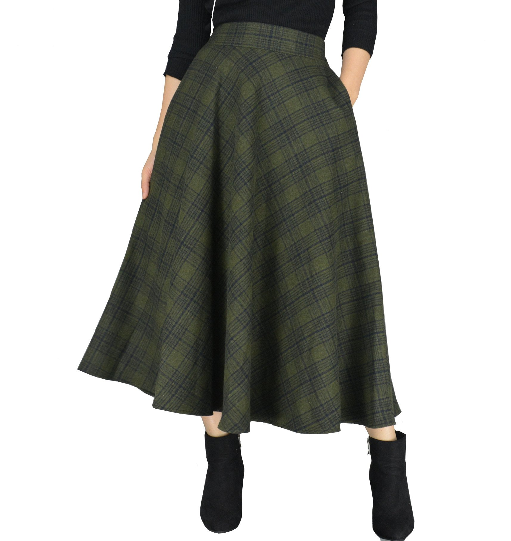 YSJ Women's Wool Midi Skirt A-Line Pleated Vintage Plaid Winter Swing Skirts (6, Army Green Long)