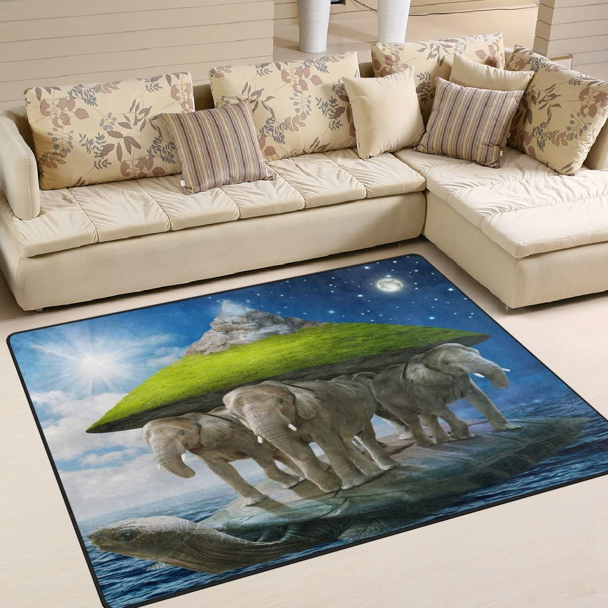 ALAZA Fantasy Sea Turtle Carrying The Elephant Moon Area Rug Rugs for Living Room Bedroom 7 x 5