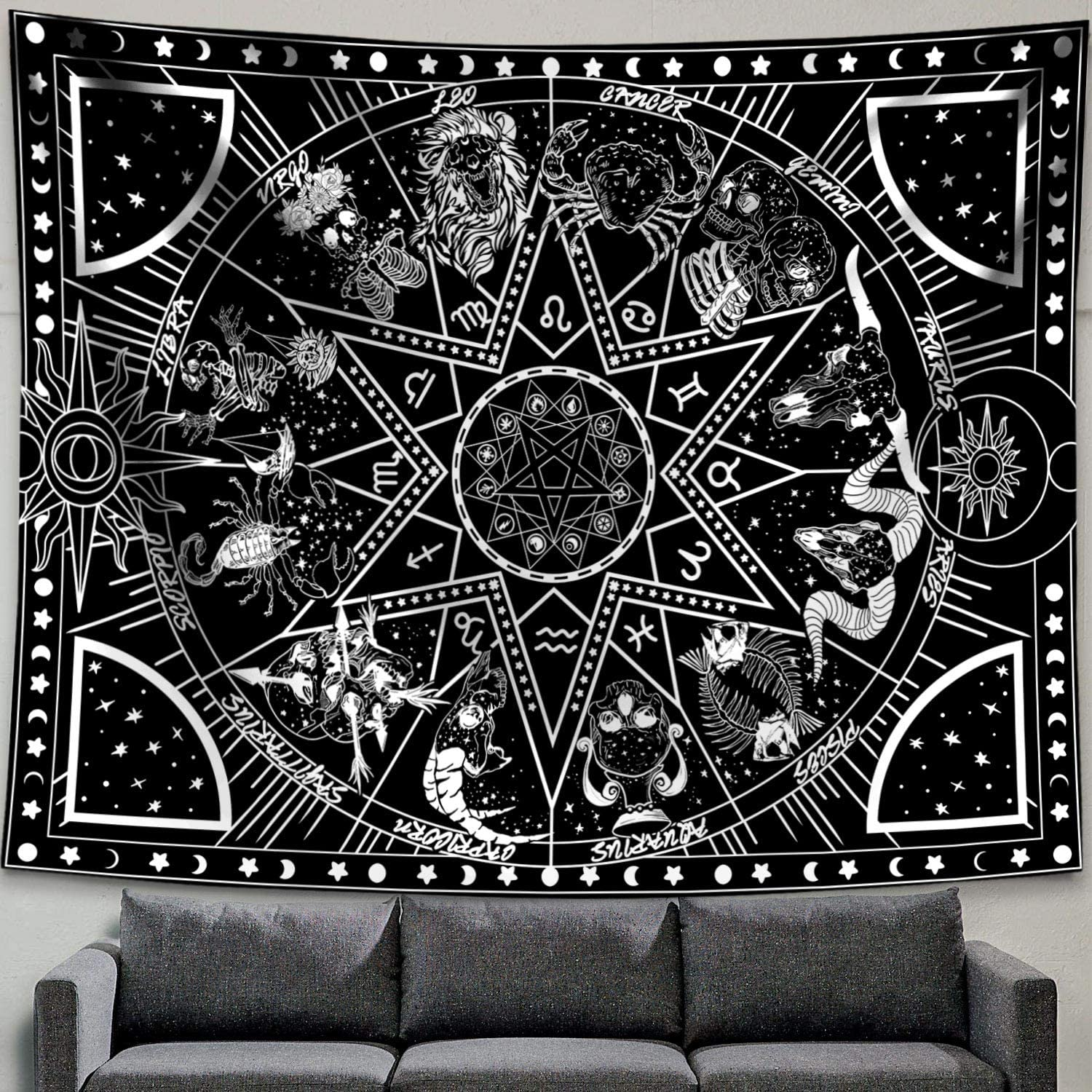 Zussun 12 Constellation Tapestry Star Sun Tarot Tapestry Black and White Hippy CelestialBohemian Home Decor (50