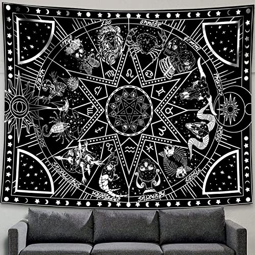 Zussun 12 Constellation Tapestry Star Sun Tarot Tapestry Black and White Hippy CelestialBohemian Home Decor 70 x 90