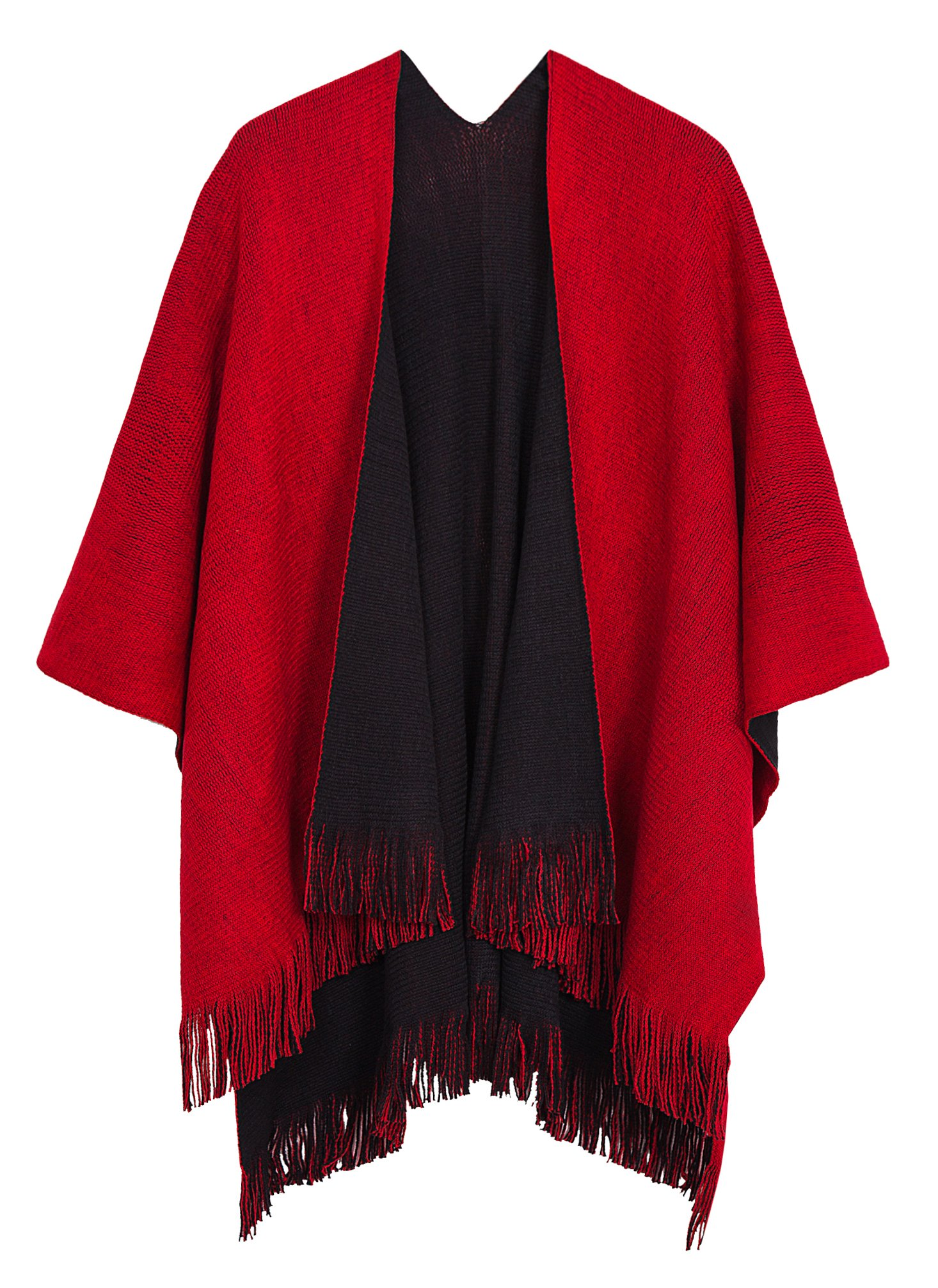 Urban CoCo Women's Vintage Poncho Cape Tassel Shawl Wrap Cardigan Coat (Red)