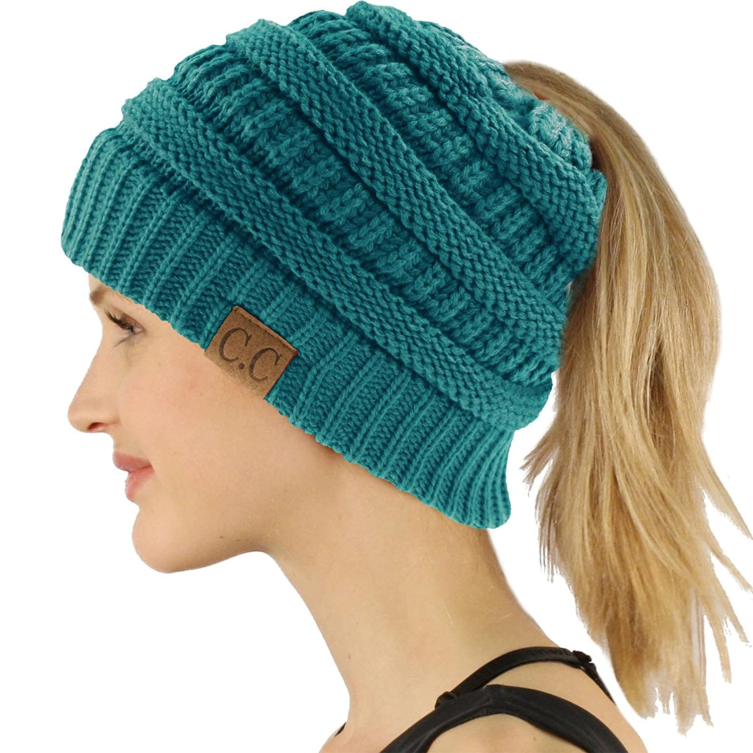 Solid Teal Ponytail Messy Bun BeanieTail Soft Winter Knit Stretchy Beanie Hat Cap
