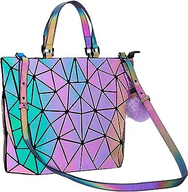 Details about  /Multicolor Bags For Women Luminous Geometric Ladies Backpack Shoulder Bag luxury