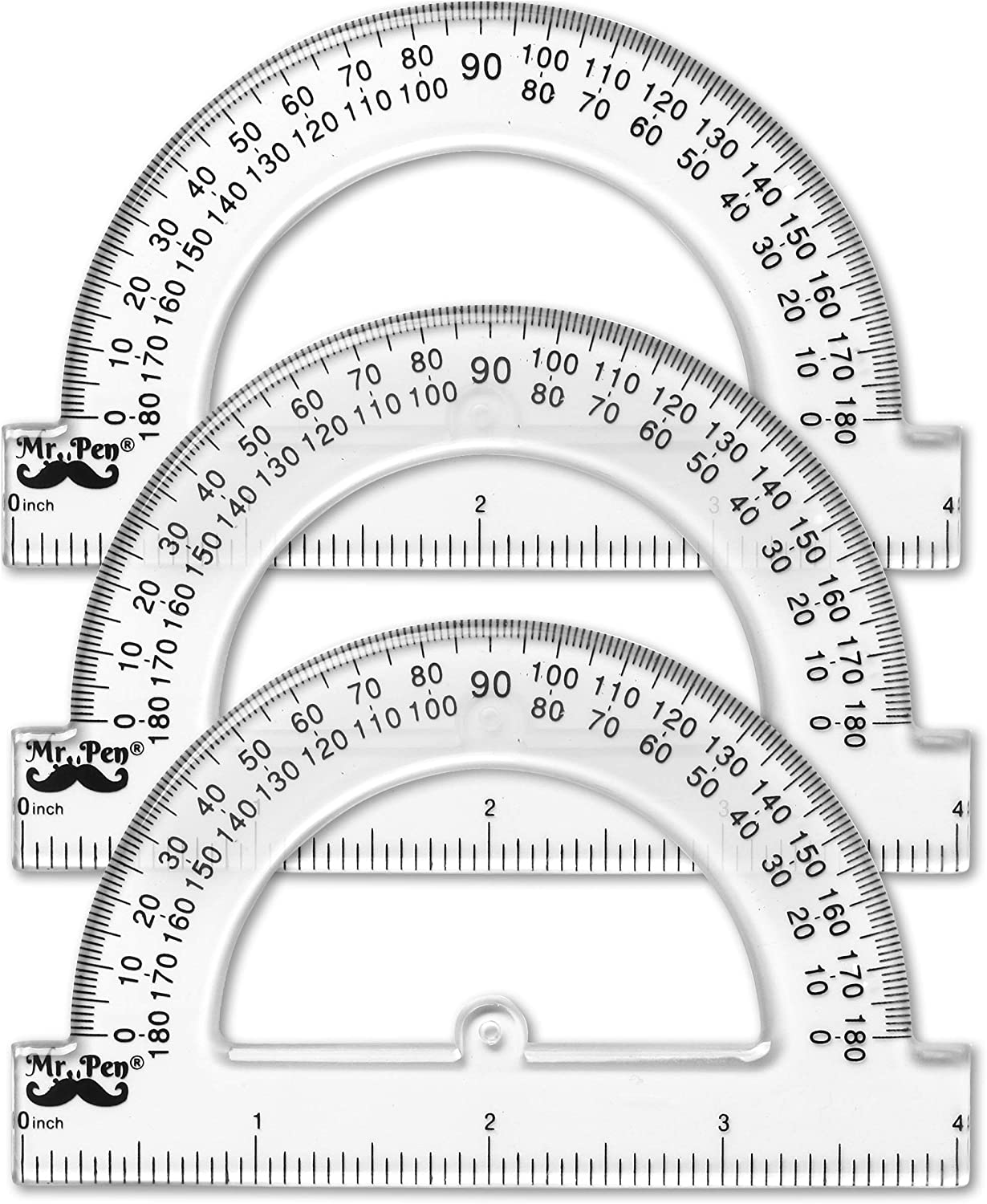 Mr. Pen- Small Protractor, 4 Inch Protractor, Pack of 3, Protractor Ruler, Drafting Tools, Protractor for Kids, Protractors Classroom Set, Protractor, Protactor 4 Inch, Math Geometry, School Supplies : Office Products