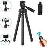 "Phone Tripod Flexible Upgraded, 11"" Portable Cell Phone Camera Travel Tripod Stand with Wireless Remote Shutter and Universal Phone Mount, Compatible with iPhone, Android Phones, Sports Camera GoPro"