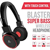 """Tantra BLASTER: SUPER BASS Bluetooth/ Wireless + Wired (Two-in-one) Headphone with TOUCH CONTROL + 12 Hrs Playback + HD Deep Bass Music + Foldable Design + Self Adjusting Noise Isolation 1"""" Ultra Comfortable Cushions"""