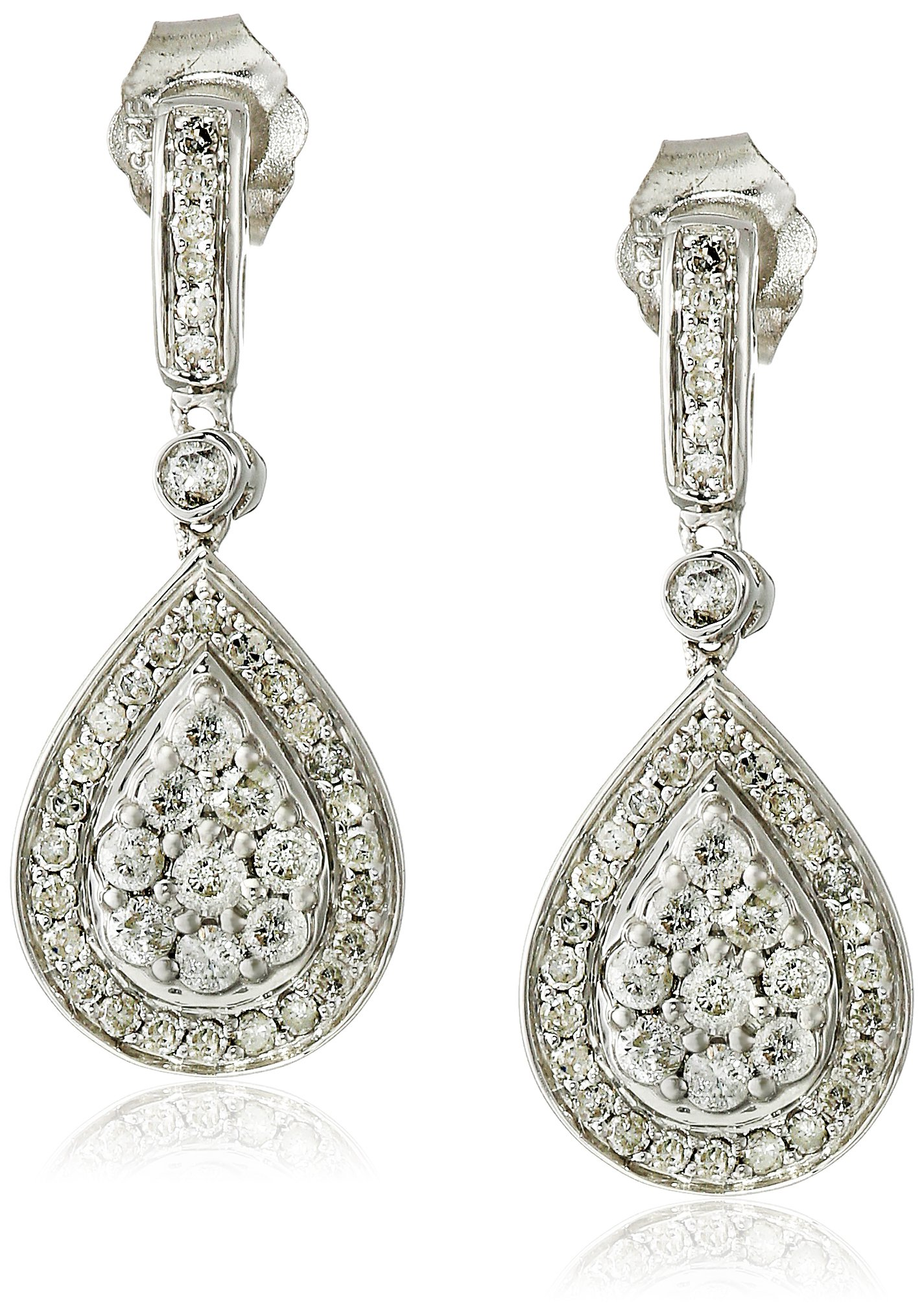 Sterling Silver Diamond Teardrop Dangle Earrings (5/8 cttw, J-K Color, I2-I3 Clarity)