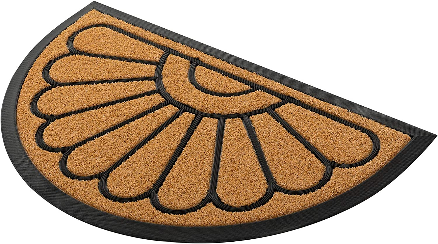 Rubber Door Mat, Half Round Outdoor Doormat by PILITO, Heavy Duty Welcome Mats, Non-Slip Entrance Mat for Patio, Entry, Home, Easy-to-Clean & Capture Dirt (18