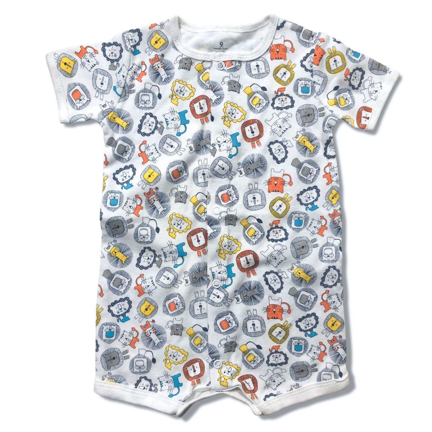 Infant Baby Boys Girls Short Sleeve Romper Summer Outfit Snap up Creeper 3-24M (3-6 Months, Lion)