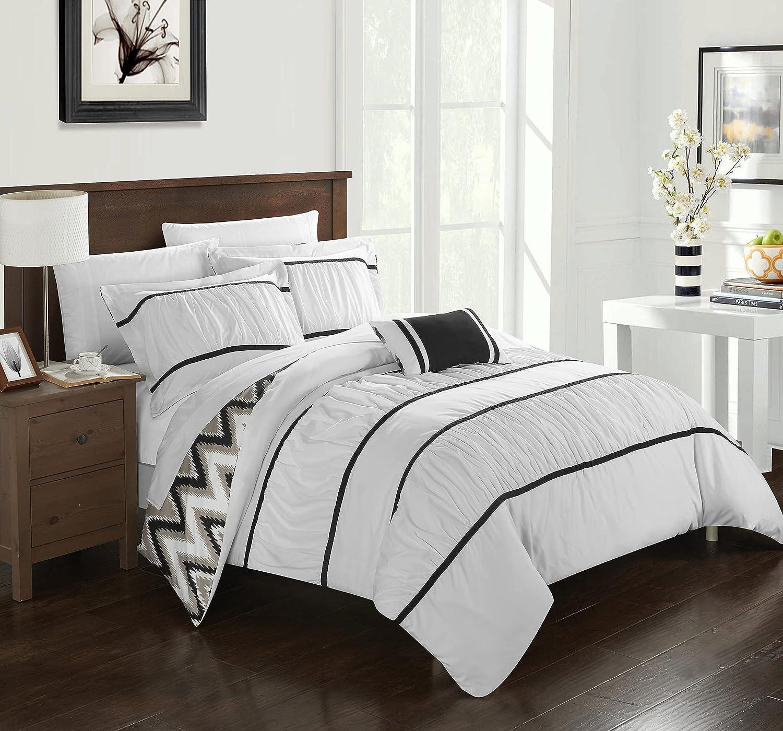 Chic Home 4 Piece Bella Bedding Set, Full/Queen, White