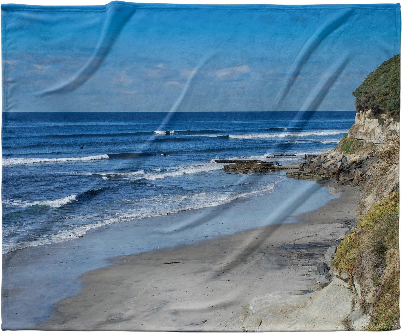 KESS InHouse Nick Nareshni Swamis Beach Coast Blue Coastal Fleece Baby Blanket 40 x 30