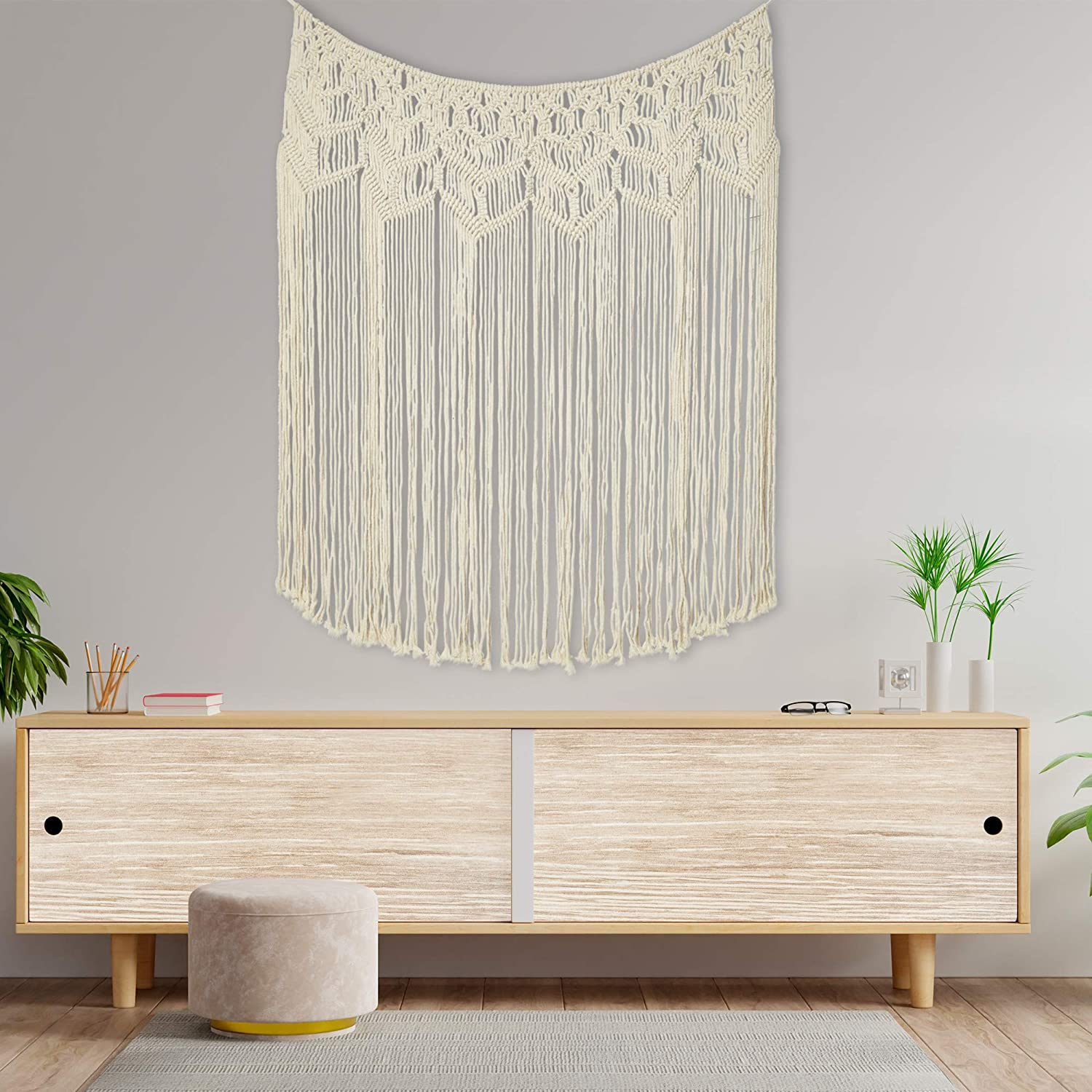 TB WorldMarketing Large Macrame Wall Hanging Curtain - Boho-Chic Home Decor - Beautiful White Decorations for Bedroom,Nursery,Room - Backdrop for Weddings, Party- Headboard - With Plant Hanger, 36x48