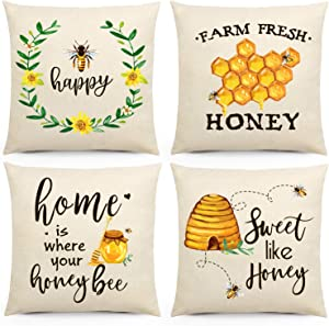 Honeybee Throw Pillow Covers, Vintage Farmhouse Bee Cotton Linen Pillow Cases with Farm Fresh Honey Home Sweet Like Honey Quote Sofa Couch Bench Decor 18X 18'' Housewarming Gift Set of 4