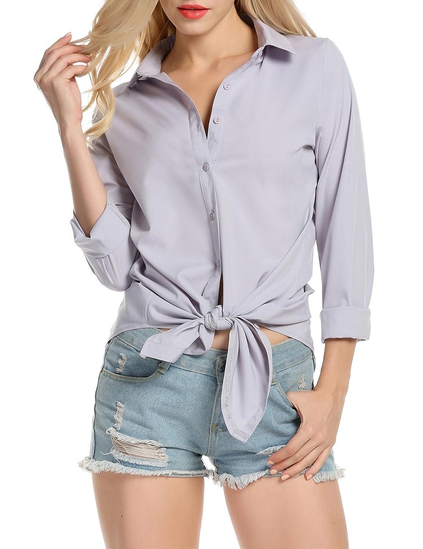 Meaneor Women Button Shirt, Women Long Sleeve Dress Shirts Casual Button Blouse Tops MAH005679