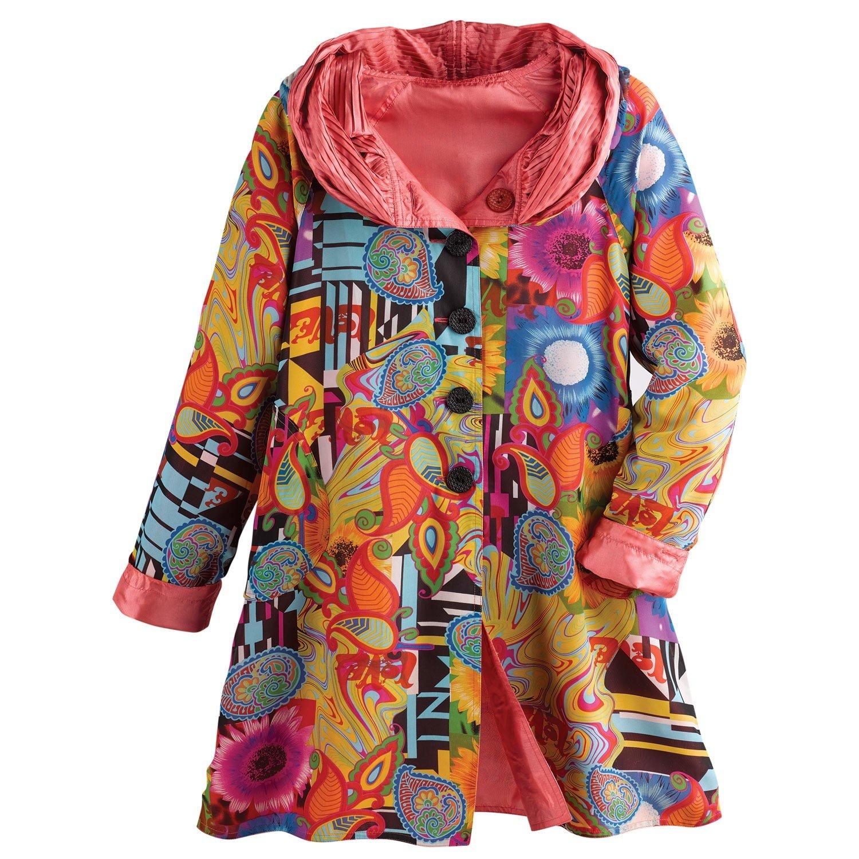 CATALOG CLASSICS Women's Reversible Print-to-Solid Rain Jacket - Button Front - 2X