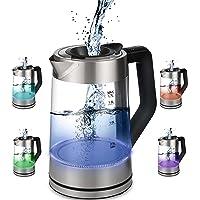 Glazen waterkoker, 1,7 liter, 2200 watt, roestvrij staal met temperatuurkeuze, theekoker, 100% BPA-vrij, warmhoudfunctie…