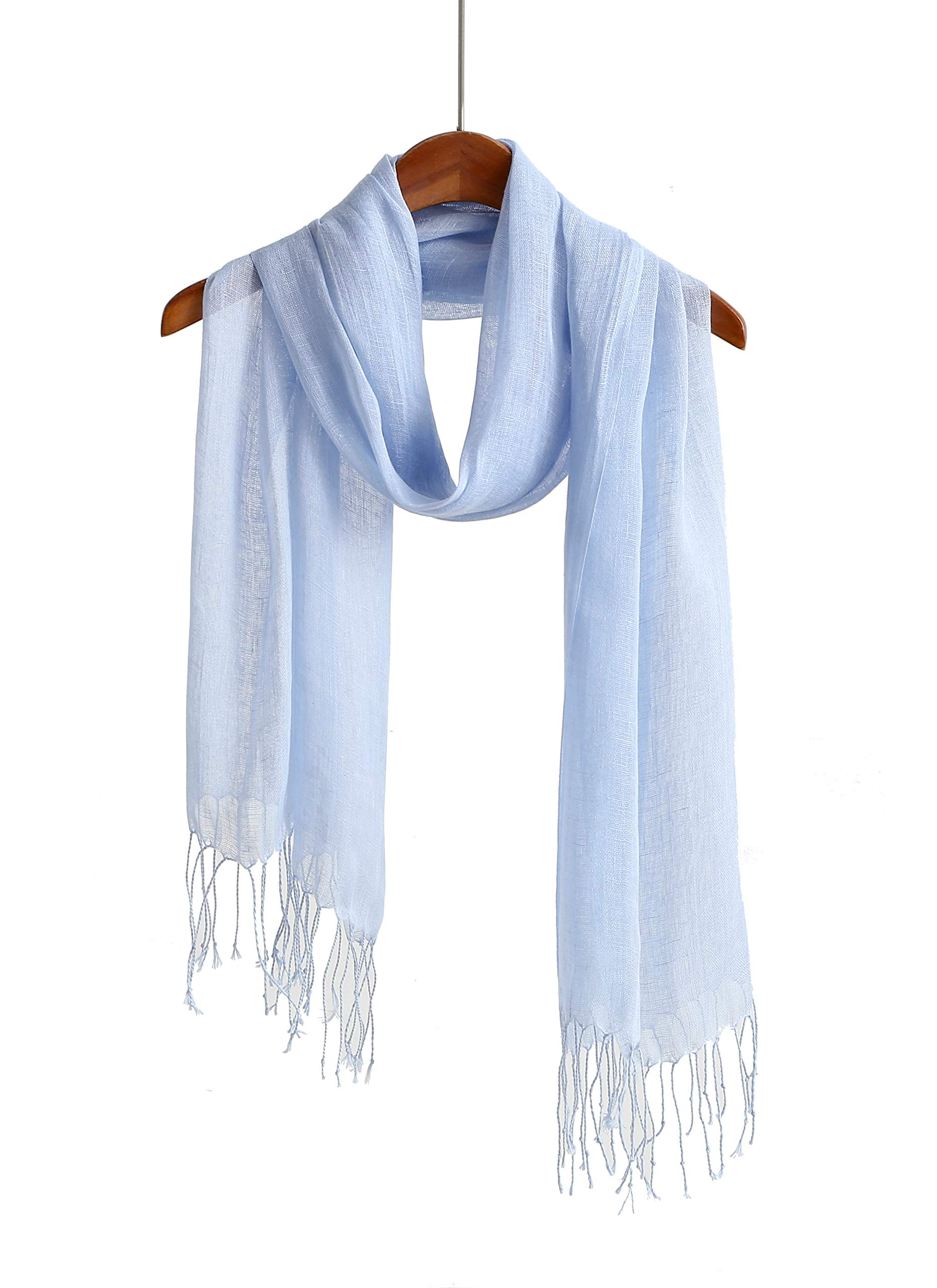 WS Natural Scarf/Shawl/Wrap Linen Feel Scarves For Men And Women. (Soft blue) by Jeelow