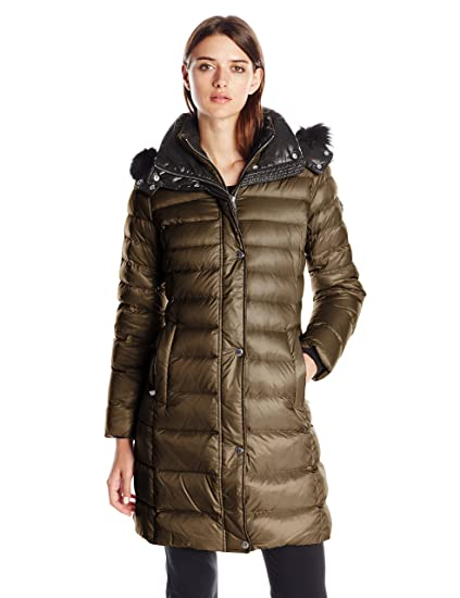 3735944a96 Andrew Marc Women's Down Coat with Inner Bib and Fur Trim Hood