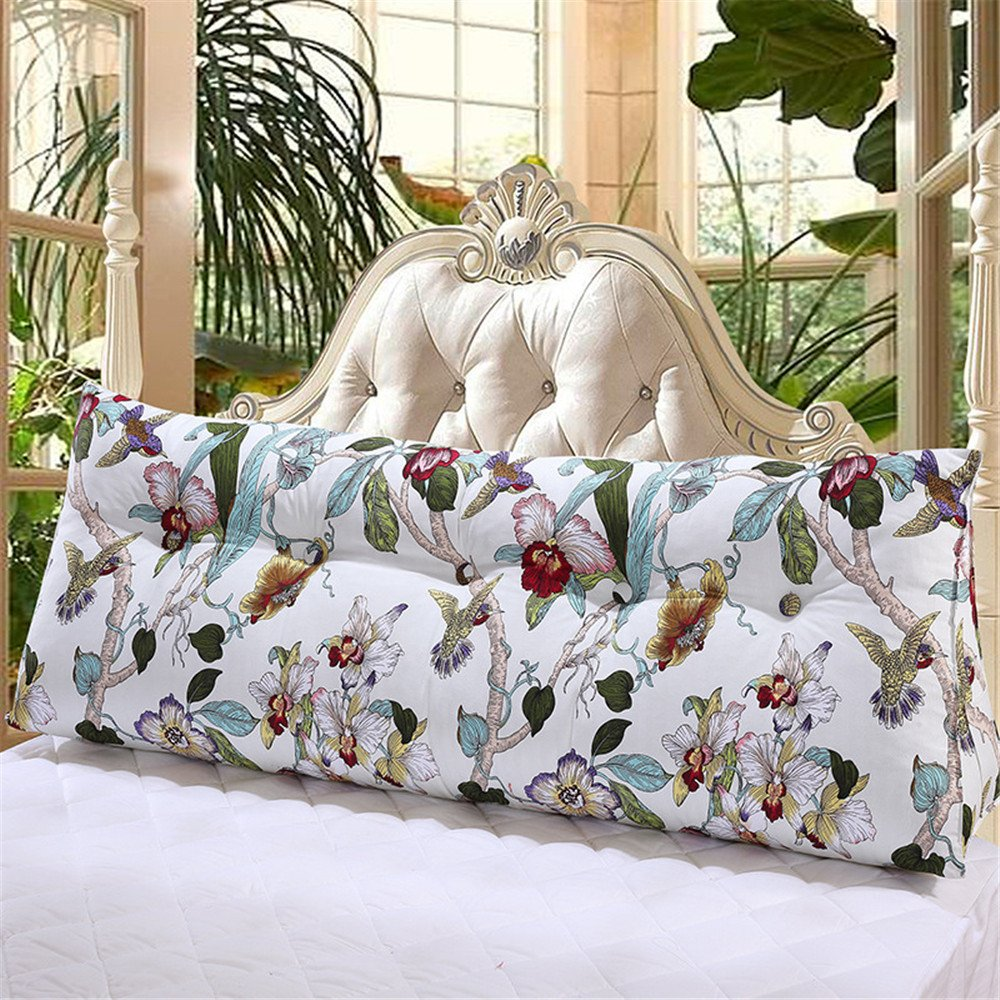 VClife Reading Pillow Chic Floral Printed Bed Rest Pillows with Filling - Hotel Quality Canvas Wedges Body Positioners, Triangular Detachable Support Pillow, Twin Bed Rest Cushion, Machine Washable