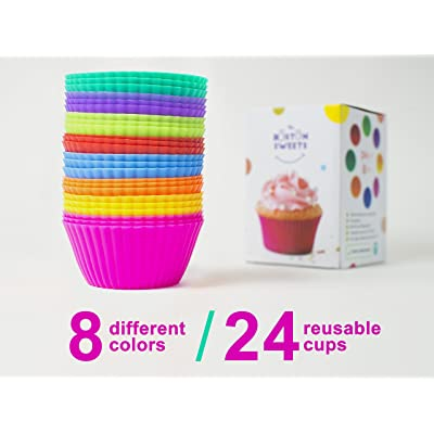 Silicone Cupcake Liners - 24 Pack Baking Cups- EIGHT colors