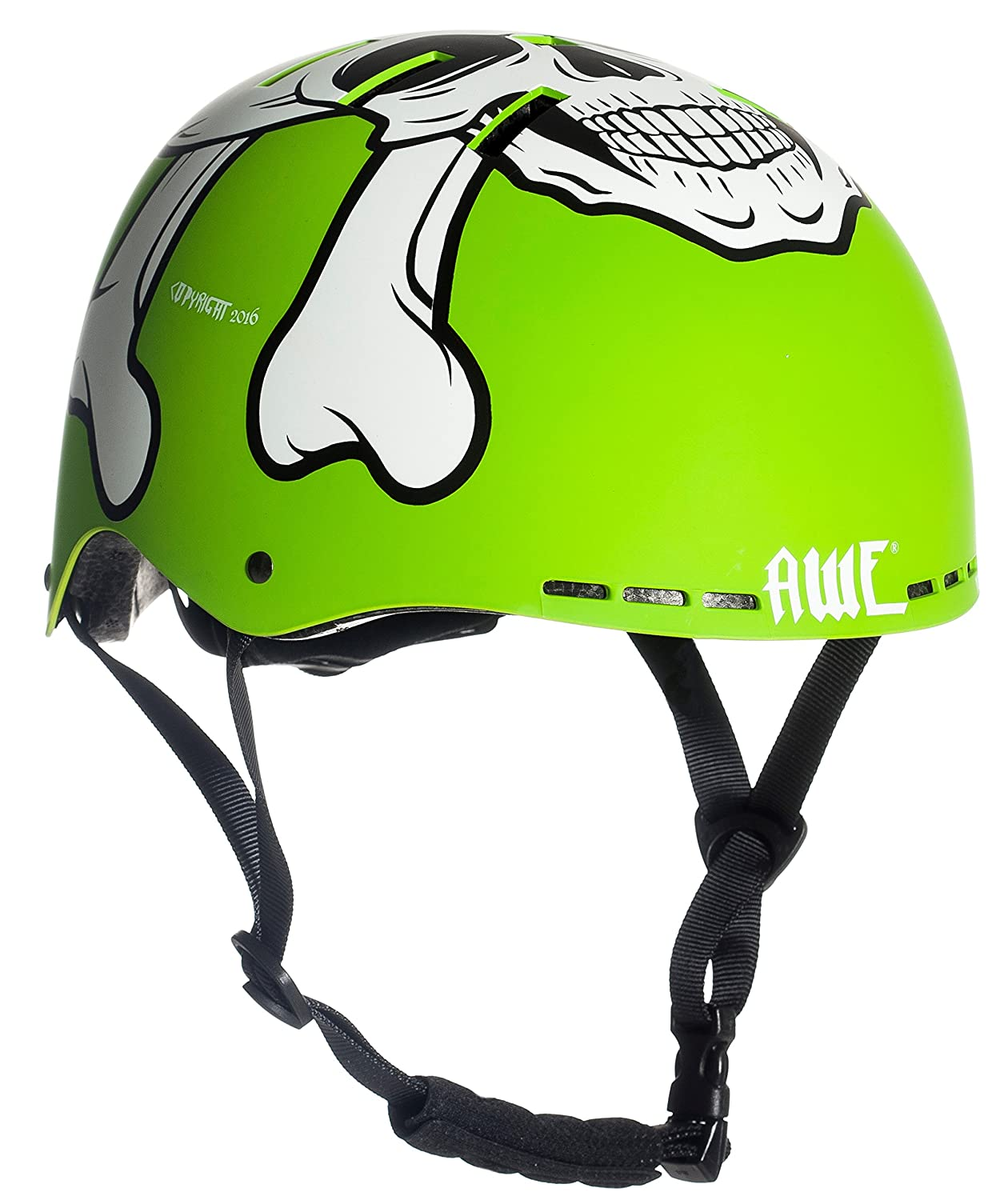 AWE® MEET YOUR MAKER™ BMX Verde 55-58cm del casco REEMPLAZO LIBRE de 5 AÑOS del CRASH * AWE®