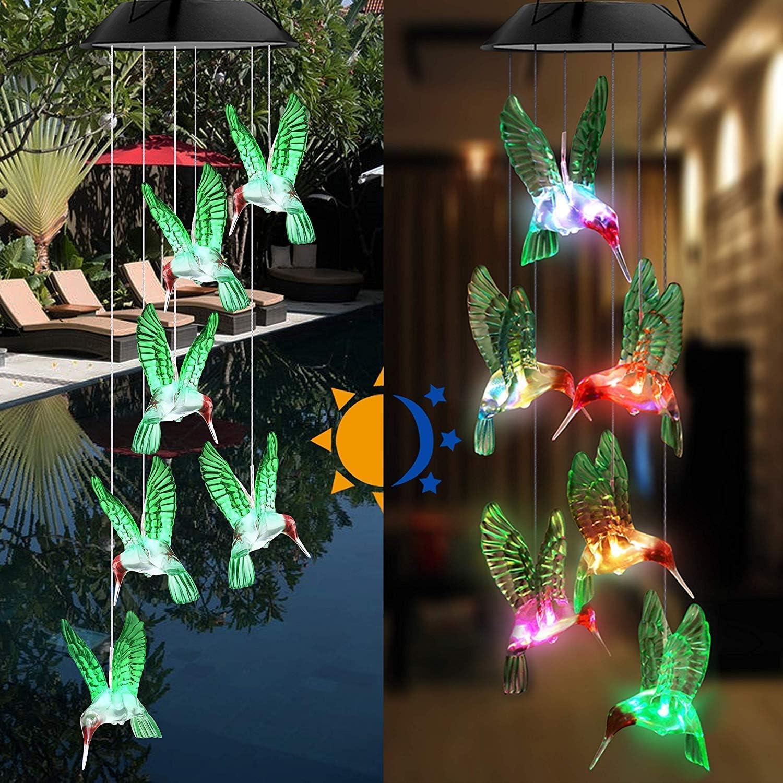 Jardinage et all/ée SYWAN Carillon /éolien /à /énergie Solaire /à LED avec Changement de Couleur en Forme de Colibri Carillon Lumineux pour ext/érieur et int/érieur Lampe /à Suspendre