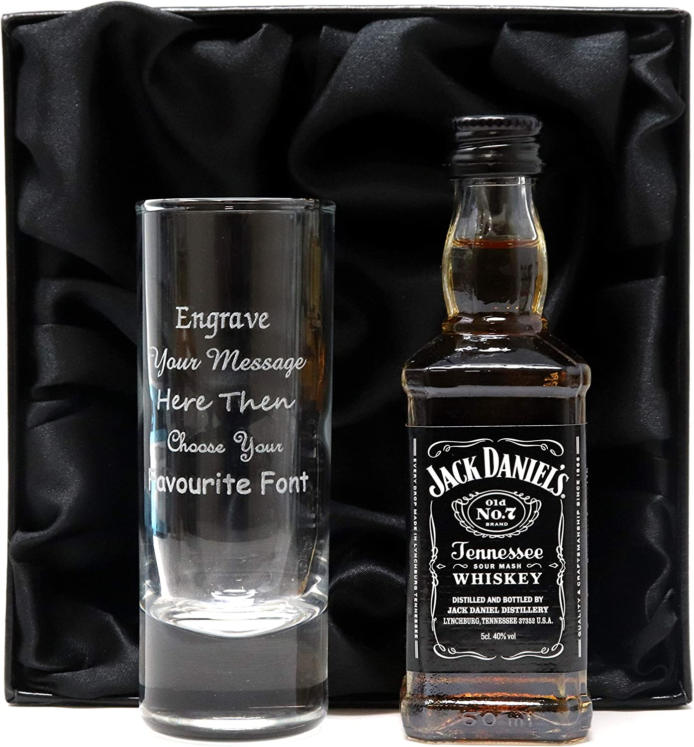 Personalised Tall Shot Glass /& Miniature Whisky in Silk Lined Gift Box Jack Daniels Tennessee Fire Whiskey