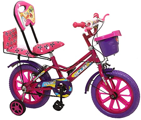 Ollmii Unisex Kids Cycle 14 inches (Purple & Pink) for 3 to 5 Years.