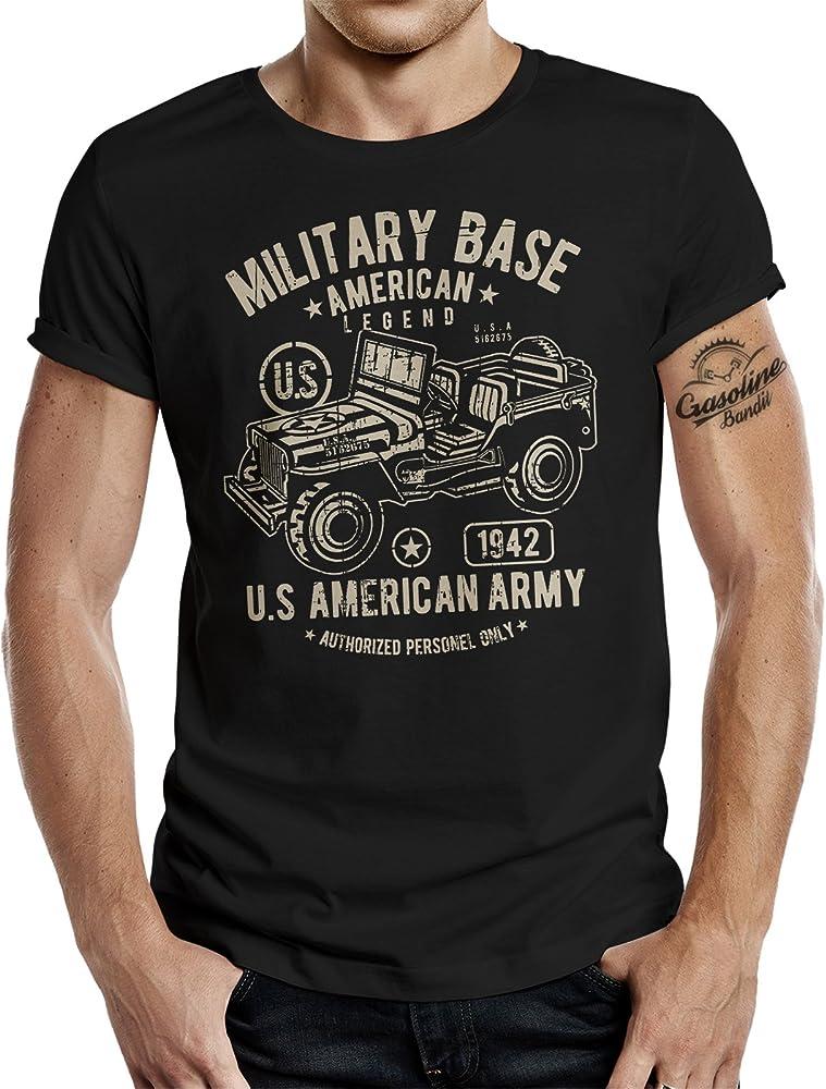 GASOLINE BANDIT - Camiseta militar para hombre Negro M: Amazon.es: Ropa y accesorios